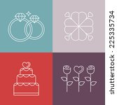 vector wedding icons in outline ... | Shutterstock .eps vector #225335734