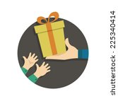 person gives gift to child.... | Shutterstock .eps vector #225340414