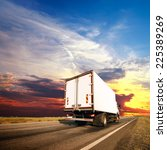 the truck with freight moving... | Shutterstock . vector #225389269