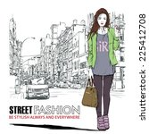 pretty stylish girl on a street ... | Shutterstock .eps vector #225412708
