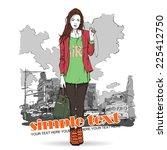 pretty stylish girl on a street ...   Shutterstock .eps vector #225412750