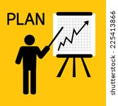 man plan for business on yellow ... | Shutterstock .eps vector #225413866