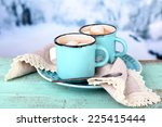 Cups Of Tasty Hot Cocoa  On...