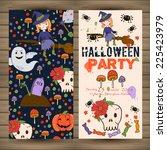 bright postcard on halloween in ... | Shutterstock .eps vector #225423979