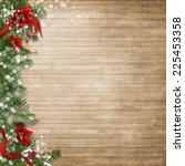 Christmas Wood Background  Wit...