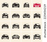 vector car icons front view | Shutterstock .eps vector #225454219