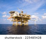 oil and gas platform with gas... | Shutterstock . vector #225485428