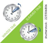 clock showing summer and winter ... | Shutterstock .eps vector #225506806