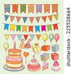 birthday party elements ... | Shutterstock .eps vector #225528664