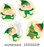 santa s elves action scenes... | Shutterstock .eps vector #225533239