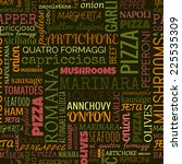 pizza words  tags. seamless... | Shutterstock .eps vector #225535309