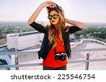 outdoor fashion portrait of... | Shutterstock . vector #225546754