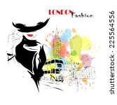 fashion girl in sketch style.... | Shutterstock .eps vector #225564556