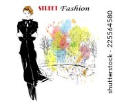 fashion girl in sketch style.... | Shutterstock .eps vector #225564580
