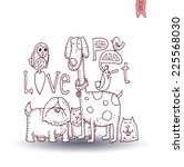 pet love card vector... | Shutterstock .eps vector #225568030