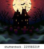 halloween wicked house... | Shutterstock .eps vector #225583219