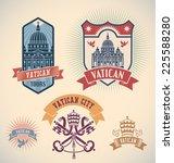set of retro styled vatican...   Shutterstock .eps vector #225588280