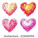 set of four chalk heart shapes. ...