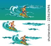 Surfing Young Athletic Man On...