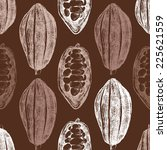 hand drawn cocoa beans seamless ... | Shutterstock .eps vector #225621559