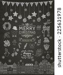 set of outlined christmas...   Shutterstock .eps vector #225631978