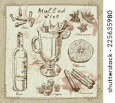 mulled wine design elements | Shutterstock .eps vector #225635980