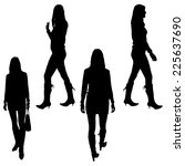 vector silhouette of woman in... | Shutterstock .eps vector #225637690