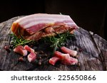 whole piece of bacon  ready to... | Shutterstock . vector #225650866