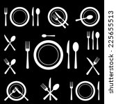 cutlery icons   Shutterstock .eps vector #225655513