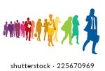 crowd of colorful walking...   Shutterstock .eps vector #225670969