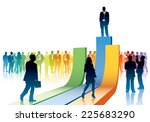 People are going to take their position on a big chart - stock vector