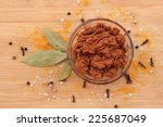 curry paste in glass bowl with... | Shutterstock . vector #225687049