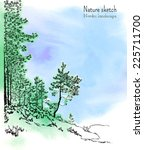 a sketch with green and blue... | Shutterstock .eps vector #225711700