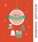 card with christmas ball and... | Shutterstock .eps vector #225712120