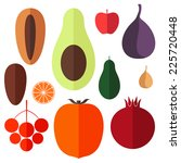 fruit. icon set. isolated food... | Shutterstock .eps vector #225720448