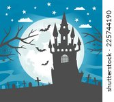 halloween castle midnight | Shutterstock .eps vector #225744190