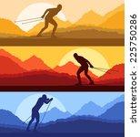 cross country skiing vector...   Shutterstock .eps vector #225750286