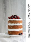 naked layer cake decorated with ... | Shutterstock . vector #225772099