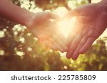 father with child holding hands.... | Shutterstock . vector #225785809