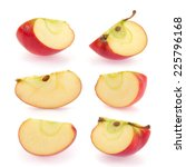 Small photo of Red apple slice collection isolated on white background