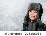 winter fur hat clothing boy is... | Shutterstock . vector #225806056