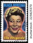 Small photo of USA - CIRCA 2007: stamp printed by United states, shows Ella Fitzgerald, american singer, winner of 13 Grammy awards, circa 2007