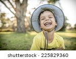 cute laughing 4 year old mixed... | Shutterstock . vector #225829360
