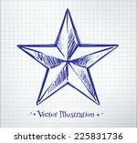 star drawn on checkered paper.... | Shutterstock .eps vector #225831736