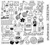 restaurant doodle set 2. hand... | Shutterstock .eps vector #225831964