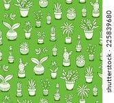 home plants seamless pattern on ... | Shutterstock .eps vector #225839680