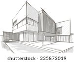 architecture sketch | Shutterstock .eps vector #225873019