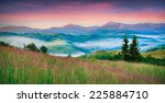 colorful morning panorama of... | Shutterstock . vector #225884710