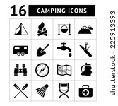 set icons of camping isolated... | Shutterstock . vector #225913393