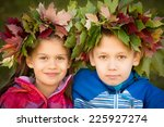 portrait of a boy and a girl... | Shutterstock . vector #225927274